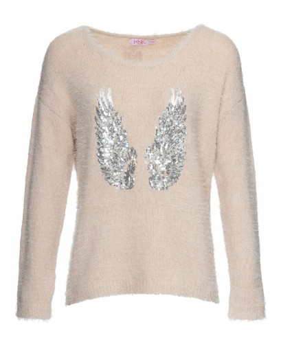 pullover with sequined wings