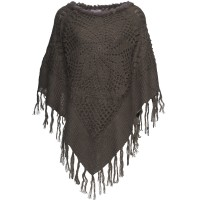 cord poncho with fur