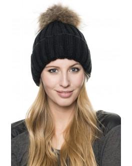 fur bobble woolly hat